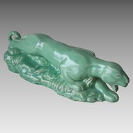 Vintage 1950s Crouching Panther Ceramic Planter Celadon Green