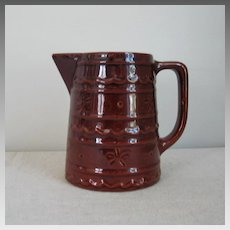Vintage 1950s 1960s Mar-Crest Daisy Dot Colorado Brown Stoneware Pitcher M