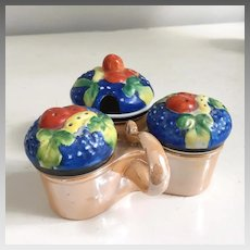 Vintage 1950s 1960s Hand Painted Gold Castle Japan Lusterware Porcelain Condiment Server with Fruit Lids