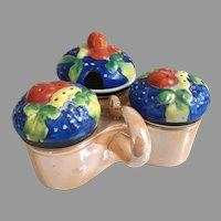 Vintage Hand Painted Gold Castle Japan Lusterware Porcelain Condiment Server with Fruit Lids