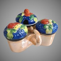 Vintage Hand Painted Gold Castle Japan Lusterware Porcelain Condiment Server with Fruit Lids