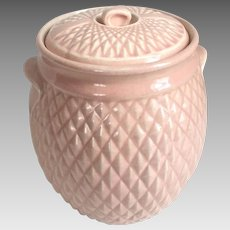 Authentic Vintage 1940s Pastel Powder Pink Hull Diamond Quilt Cookie Jar with Lid