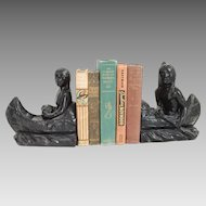 Vintage Native American Indians in a Canoe Pair of Bookends Black Plaster