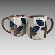 Vintage 1970s Ceramic Coffee Mugs Cups Navy Blue Dark Brown Gray Glaze