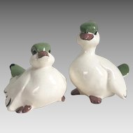Vintage 1960s Ceramic Pottery Pair of White Birds Figurines