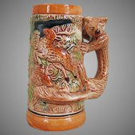 Vintage 1960s Ceramic Beer Stein Hunting Theme with Wolf Wolverine Fox Handle