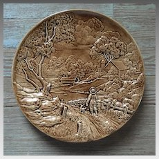 Vintage 1970s Circular Brown Ceramic Farm Scene Plate Bowl Wall Hanging