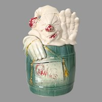 Vintage 1950s Collectibles McCoy Clown in a Barrel Cookie Jar