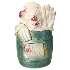 Vintage 1950s Collectibles McCoy Clown in a Barrel Cookie Jar