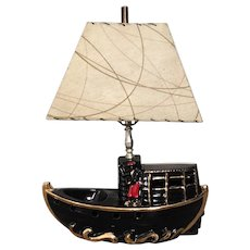 Vintage 1950s Premco Oriental Black Boat TV Lamp Kitsch Home MCM Decor