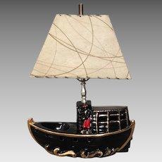 Vintage 1950s Premco Oriental Black Boat TV Lamp Kitsch Home MCM Decor