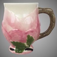 Vintage Franciscan Desert Rose Sculpted Footed Mug Made in Portugal Pink Green Cream