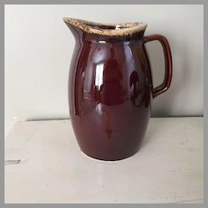 Vintage Brown Drip Hull Pitcher Coupe Shape Large 88 oz