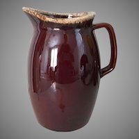 Vintage Brown Drip Hull Pitcher Coupe Shape Large