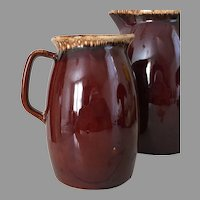 Vintage Brown Drip Hull Pitcher Coupe Shape Small 32 Oz