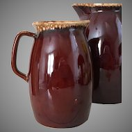 Vintage Brown Drip Hull Pitcher Coupe Shape Small 32 Ounce