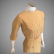 1960s Vintage Harvest Gold Jack Stern Originals Dress with Corded Seaming  M