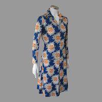 Vintage 1970s American Designer Miriam Susskin Blue Floral Knit Blouse Skirt Ensemble Dress M