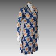 Vintage 1970s American Designer Miriam Susskin Blue Floral Knit Blouse Skirt Ensemble Dress M