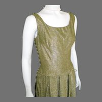 Vintage 1960s Shimmering Party Cocktail Dress Gold Lurex Drop Waist Pleated Skirt S M