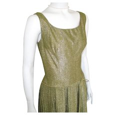 Vintage 1960s Shimmering Party Cocktail Dress Gold Lurex Drop Waist Full Pleated Skirt VLV