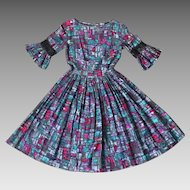 Vintage 1960s Abstract Geometric Novelty Print Fit N Flare Cotton Day Dress in Purples and Blues XS