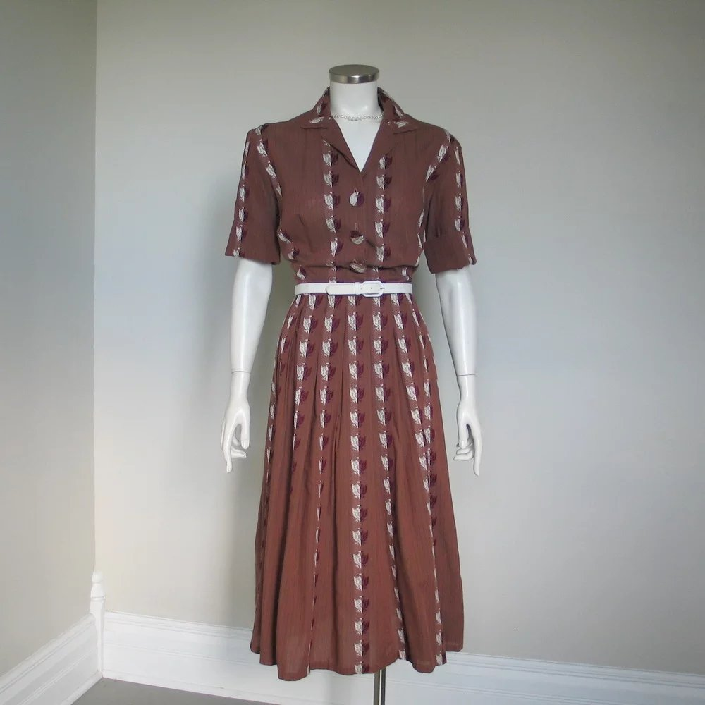 Vintage 1950s Brown Striped Fit And Flare Shirtwaist Dress