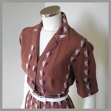 Vintage 1950s Brown Striped Fit and Flare Shirtwaist Dress Embroidered Eagle Crest M L