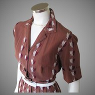 Vintage 1950s Brown Striped Fit and Flare Shirtwaist Dress with Embroidered Eagle Crest M L