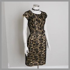 Vintage 1960s Gold Lurex Holiday Sheath Party Dress with Black Lace M