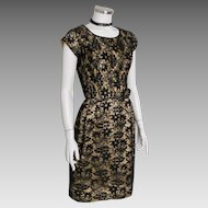 Vintage 1960s Gold Lurex Holidy Sheath Party Dress with Black Lace M