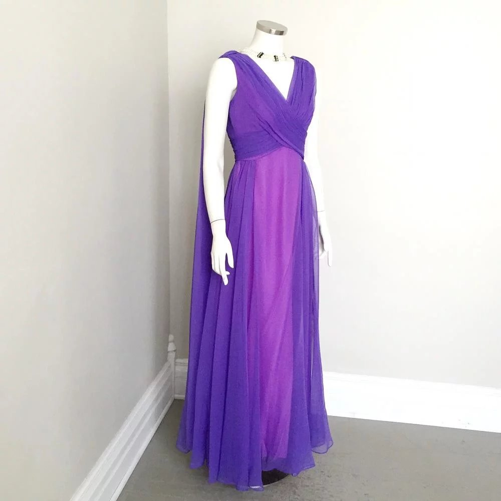 Vintage 1960s Sheer Violet Orchid Chiffon Goddess Evening Gown by ...
