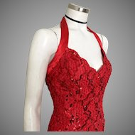 Vintage 1970s Bari-Jay Lipstick Red Sequinned Body Hugging Halter Cocktail NYE Dress S
