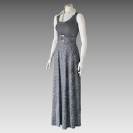 Authentic Vintage 1970s Sheer Silver Black Paisley Sparkle Shimmer Maxi Disco Dress XS