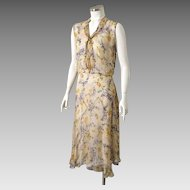 Authentic Vintage 1920s Sheer Floral Print Spring Summer Dress S M