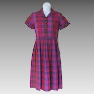 Vintage 1960s NWT NOS Shirtwaist Dress Pink Purple Red Plaid S