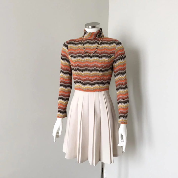 a5feb313f9f0d Adorable Vintage 1960s 1970s Flame Stitch Sweater Knit Fall Dress by Jerell  of Texas XS S