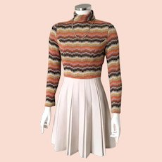Adorable Vintage 1960s 1970s Flame Stitch Sweater Knit Fall Dress by Jerell of Texas XS S