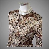 Vintage 1970s Modern Shimmering Metallic Maxi Evening Dress Gold Brown Cream XS S
