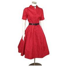 Vintage 1960s Red Floral Brocade Oriental Shirtdress Shirt Waist Dress by Madame Koo M