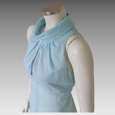 Vintage 1970s Light Sky Blue Cut In Shoulder Maxi Dress with Flocked Hearts