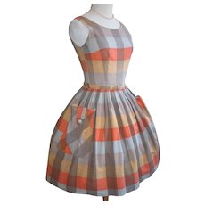 Vintage 1950s 1960s Orange Cocoa Gold Plaid Fit n Flare Full Skirt Dress XS