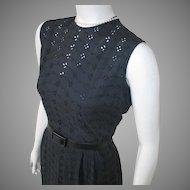 Vintage 1960s Black Eyelet Sleeveless Summer Sheath Dress M