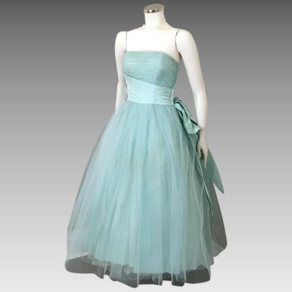Vintage 1950s Aqua Tulle and Satin Strapless Fit and Flare Formal ...