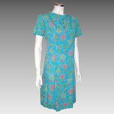 Vintage 1960s Novelty Print Shift Dress Turquoise Blue Pink Gold Lime M Kay Whitney