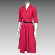 Vintage 1980s Deep Pinkish Red Shirtwaist Shirt Waist Dress M L