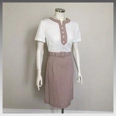 Vintage 1960s Brown Tiny White Check Modern Dress M