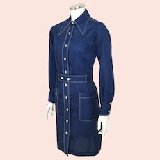 Vintage 1970s Navy Blue Shirtdress with White Top-stitching Huge Collar M
