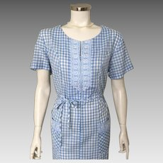 Vintage 1960s Blue and White Gingham House Dress with Floral Embroidered Trim L XL Volup