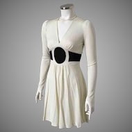 Vintage 1970s Rag Dolls San Francisco Two Tone Black Cream Knit Dress XS S